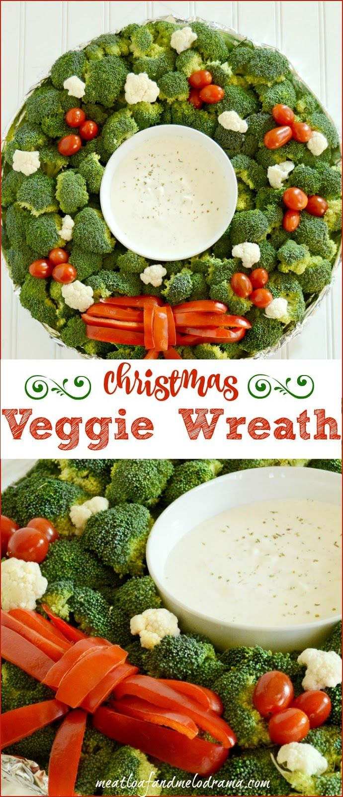 Veggie Christmas Wreath Platter. I've been making this most Christmas Eve's for years. Super easy. Sometimes I use hummus instead of dip.