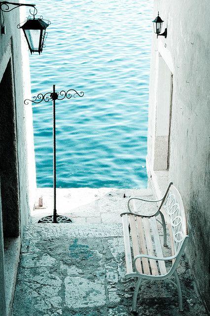 aaahhh...: Spaces, Favorite Places, Bench, Dream, Blue, Beautiful, Croatia, Sea, Travel