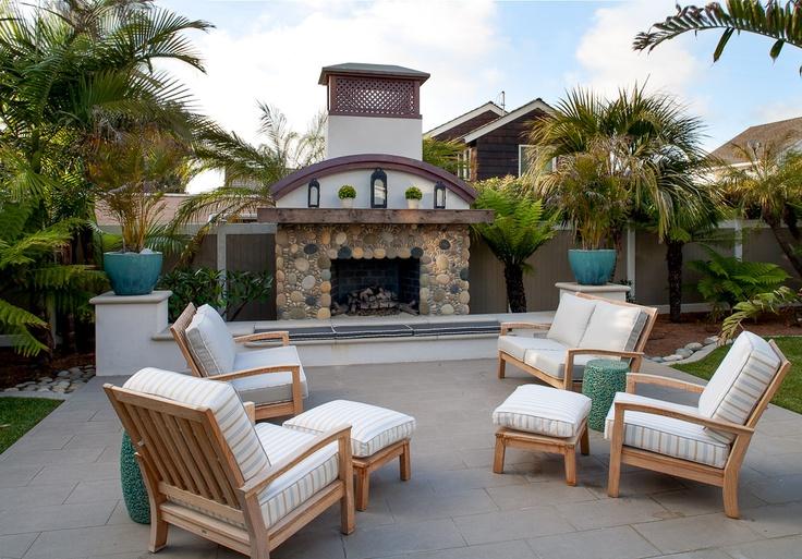 Hill Construction Company La Jolla San Diego Custom Home Beach Chic Patio And Fireplace