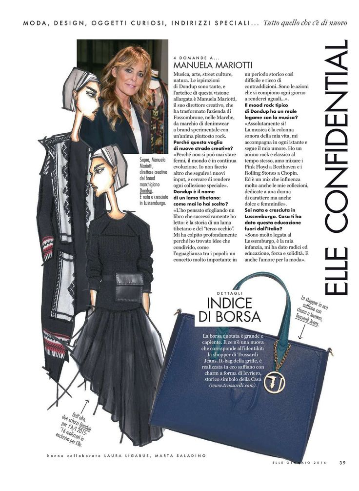 Some sketches  Fall15 Women's Collection and Interview with Dondup Creative Director   Manuela Mariotti - ELLE