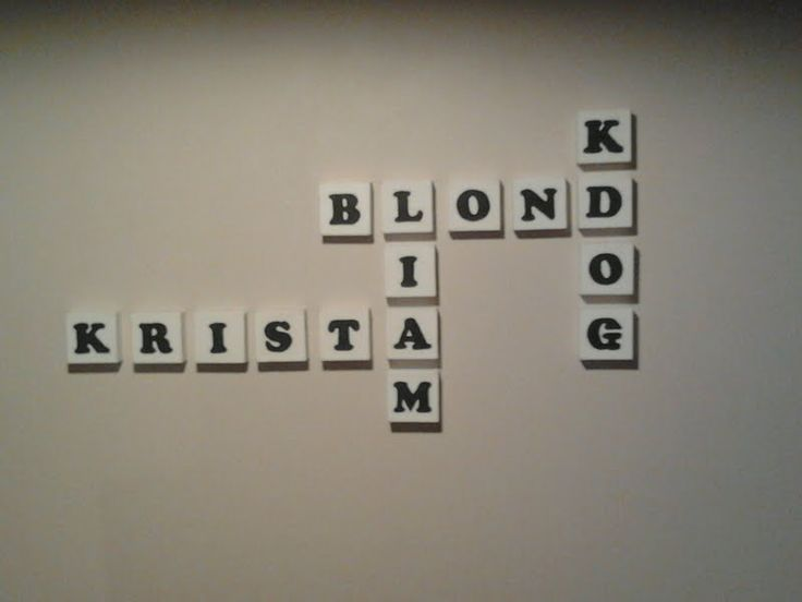 scrabble art canvas blocks of family names make for eye catching art in my dining room