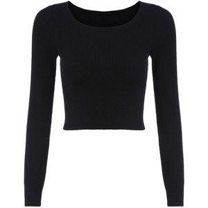 SheIn(sheinside) Long Sleeve Crop Black T-shirt