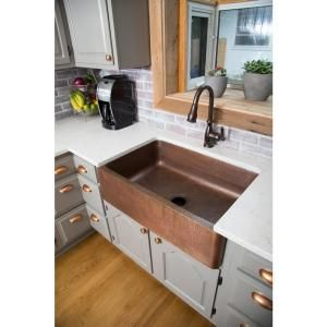 SINKOLOGY Adams Farmhouse Apron Front Handmade Pure Solid Copper 33 in. Single Basin Kitchen Sink in Antique Copper K1A-1004ND at The Home Depot - Mobile