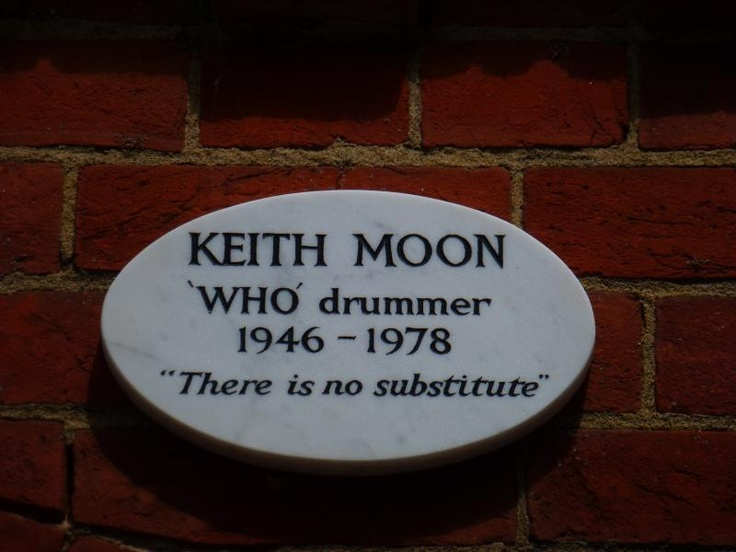 """""""There is no substitute""""    Keith Moon's memorial plaque at Golders Green Crematorium in London."""