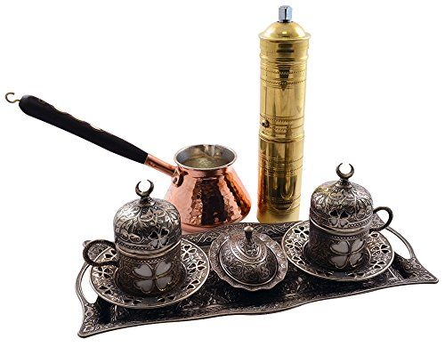 13 Pieces Turkish Greek Arabic Coffee Set with Pot Coffee Maker,Cup Saucer Sugar Dish Tray and Grinder Mill BOSPHORUS http://www.amazon.com/dp/B00PFWK75Q/ref=cm_sw_r_pi_dp_l-D5vb1ZVWZMS