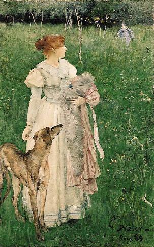Ernest Bieler Swiss Painter (1863-1948), Lady with Greyhound