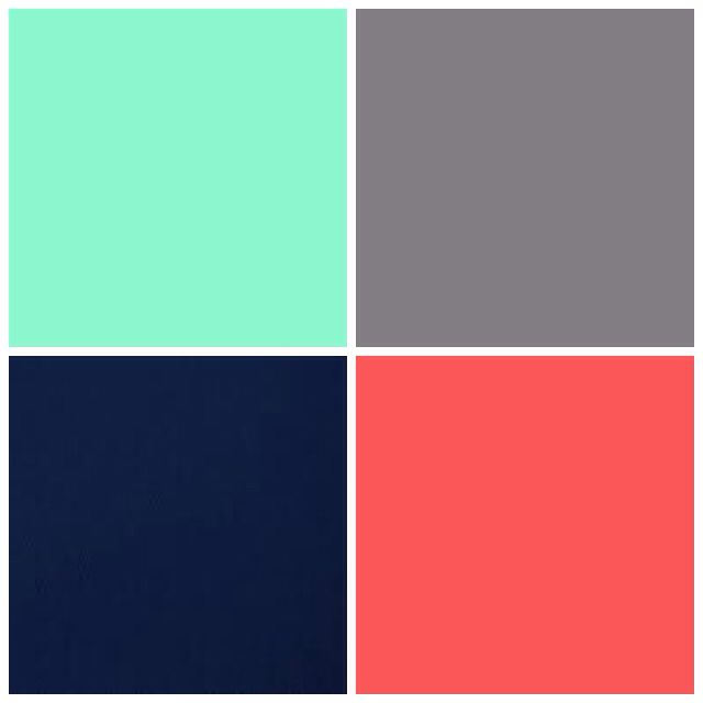 Mint, grey, navy, and coral.