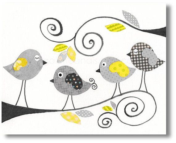 Arte per l'arte di bambini - baby nursery arredamento - vivaio arte - bambini stampa - bambino - grigio uccello - giallo - scuola materna - ...