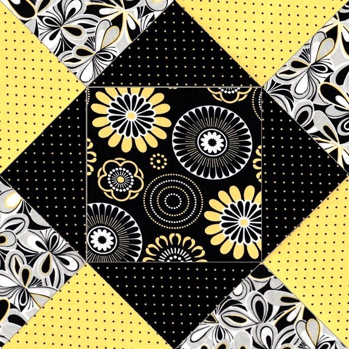 This modern abstract easy to make quilt kit features large style prints and they all go together very well with over stylized flowers in white, yellow, black and gray. There are tiny yellow dots on bl