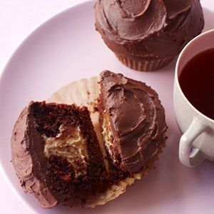 Chocolate cupcakes with a surprise PB filling #recipes #chocolate