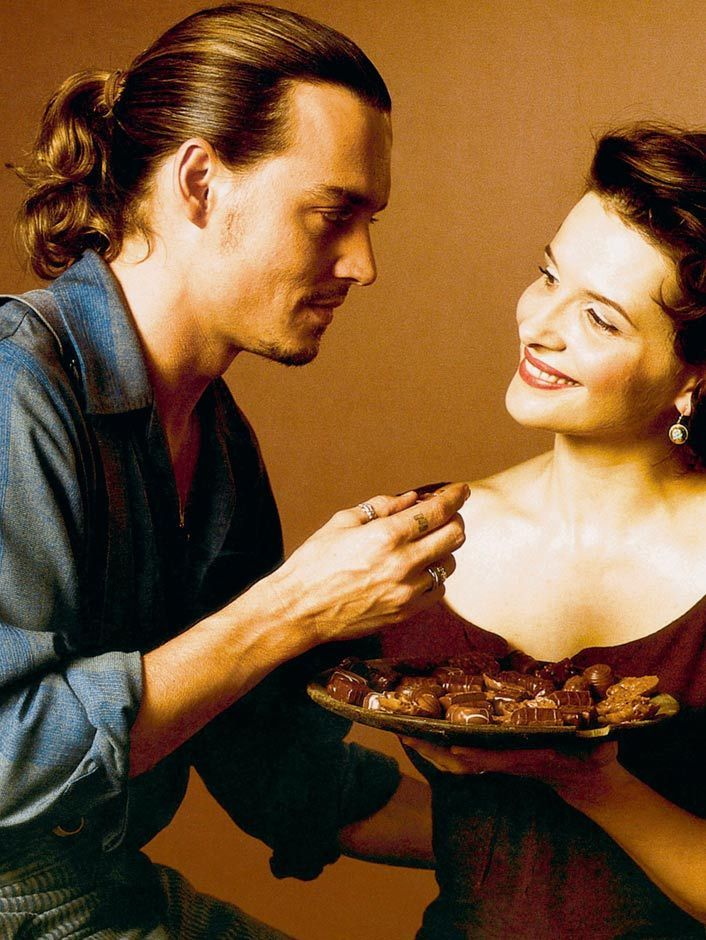 Juliette Binoche in the movie Chocolat. Tasty indeed. Loved that film, Johnny Depp, Juliette Binoche and Dame Judi Dench were great in it.