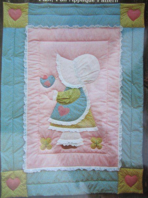 See Sally Sew-Patterns For Less - Amy Sue Sunbonnet Quilt Crib Sized Bed Cover The Gingham Goose Pattern GGP 001 , $8.99 (http://stores.seesallysew.com/amy-sue-sunbonnet-quilt-crib-sized-bed-cover-the-gingham-goose-pattern-ggp-001/)