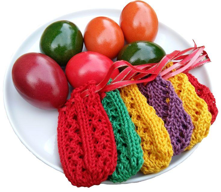 Színes kötött tojás tatyók húsvétra azsurmintával | Kössünk Lányok!