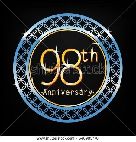 black background and blue circle 98th anniversary for business and various event