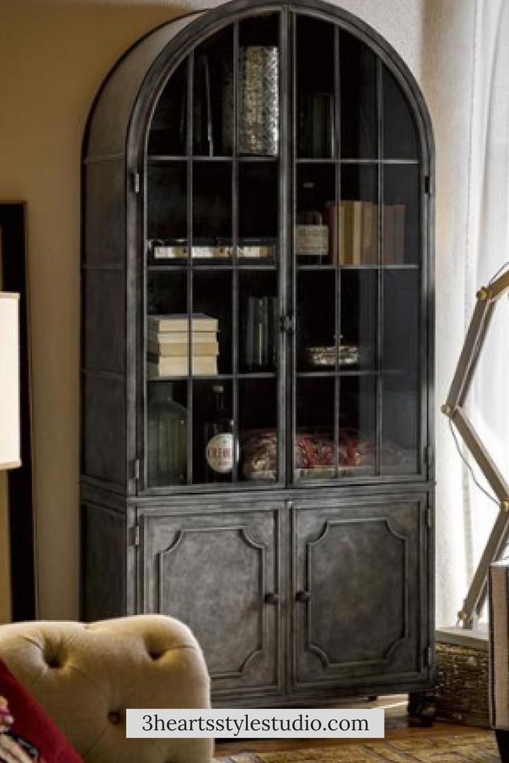 259900 Stunning Farmhouse Styling In This Metal And Glass Hutch Perfect For A Dining Room