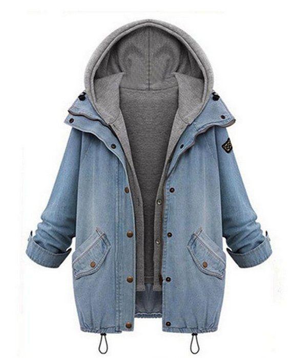 Ramonala Winter Herbst Damen Wintermantel Schöne Coat Parka Jacke Deinm Jeans