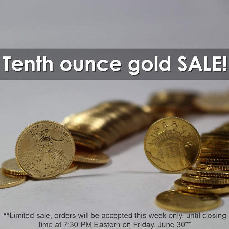 - THIS WEEK ONLY - Slashed Prices on Our Most Popular 1/10 Ounce #gold Coins!  1/10 oz American Eagle Coins  Just $15.75 Each over Gold Spot! AND 1/10 oz Lady Liberty Rounds  Just $11.50 Each over Gold Spot! Prices may be subject to change due to large demand and inventory restrictions