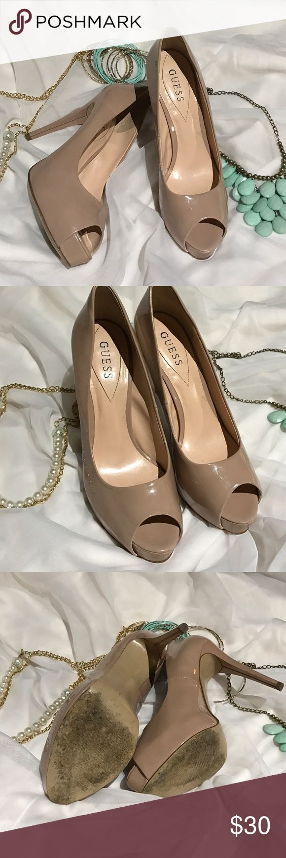 GUESS peep toed heels Great nude colored guess shoes! Previously loved with lots of great wear left! A staple shoe for any fashionista Guess Shoes Heels