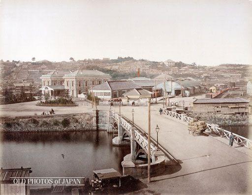弁天橋と横浜駅 1873年の横浜