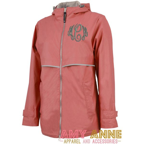 Charles River New Englander Monogrammed Rain Jacket Waterproof More... ($47) ❤ liked on Polyvore featuring outerwear, jackets, aqua, women's clothing, monogrammed rain jacket, red rain jacket, hooded jacket, hooded cape and red cape