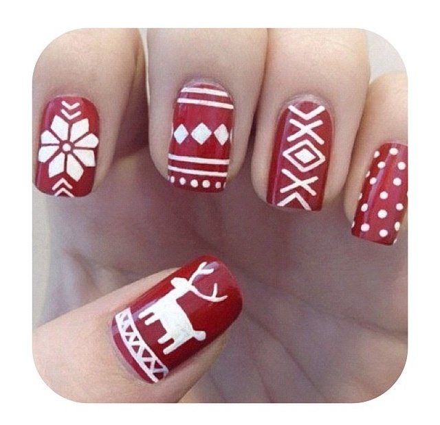 Fingernails painted to look like Christmas time sweaters, SO cute! :)