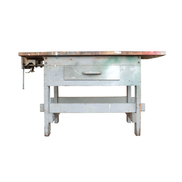 Industrial Workbench with Grey Base on Chairish.com