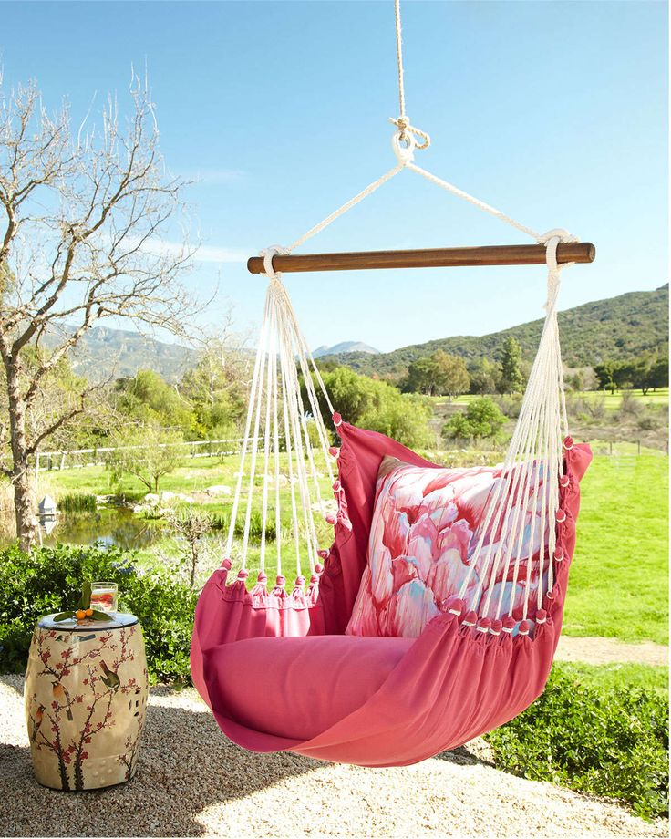 #ONLYATNM Only Here. Only Ours. Exclusively for You. Handcrafted indoor/outdoor swinging chair with pillows. Made of polyester; feels soft like cotton. Machine washable pillow covers. Olefin-covered c