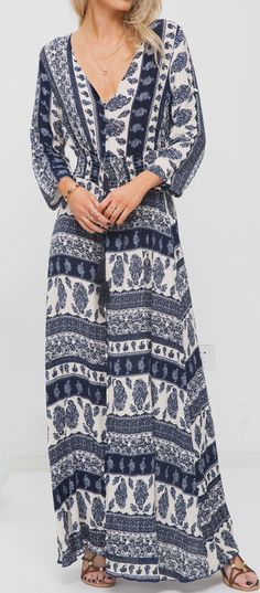 Optimize your comfort and beauty with this Aztec Long Dress. The V neckline and drawstring on waistline design makes you modest! Own it now!