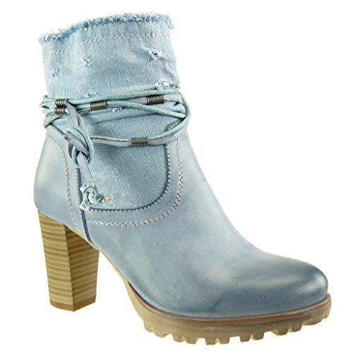 Oferta: 35.99€. Comprar Ofertas de Angkorly - Zapatillas de Moda Botines cavalier bimaterial flexible mujer multi-correa fleco camuflaje Talón Tacón ancho alto barato. ¡Mira las ofertas!