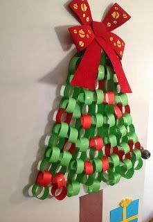 paper chain christmas tree wall display - Google Search