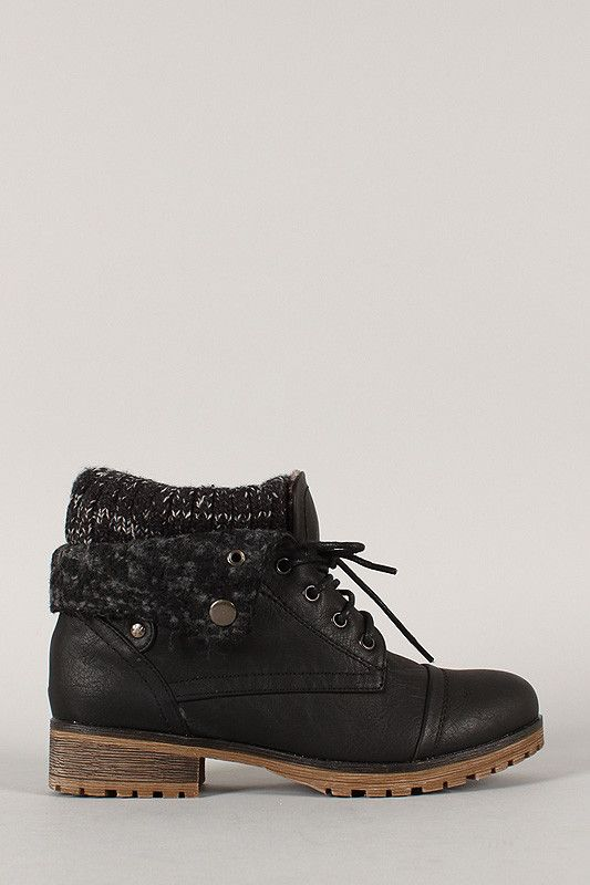 These cozy ankle boots feature a vegan leather upper with faux fur folded collar that can be worn up or down, soft sweater shaft, round toe, and block heel. Finished with lace up closure, cushioned in