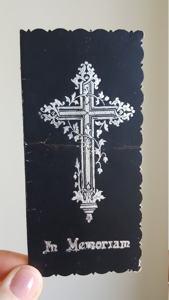 Antique Spanish Mourning Funeral Cards  Memento Mori Holy Card
