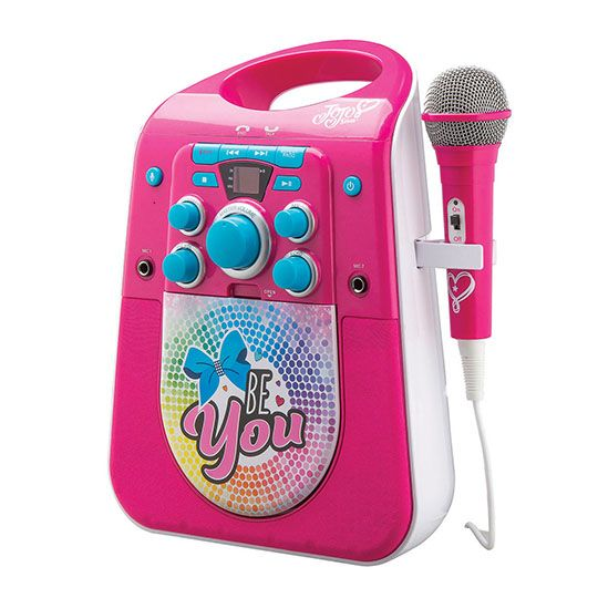 This karaoke machine features a multi-colored LED light show. Connect to a TV and sing along to your favorite JoJo lyrics on screen with the included CD, or connect any Bluetooth device to stream audio… read more
