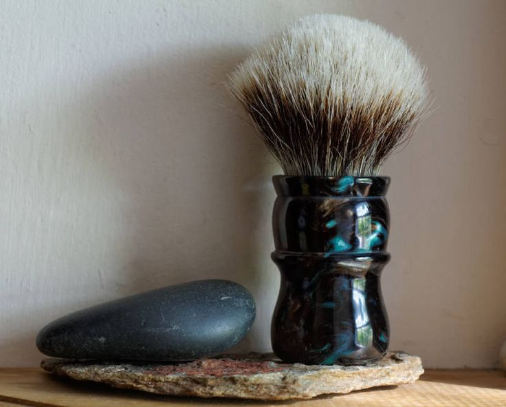 Shaving Brush - Black Peacock Resin Handle Hand-Made with Two Band Finest Badger…