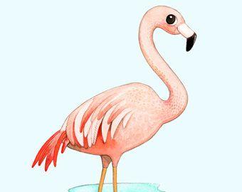Flamingo art print, aquarel schilderij, aquarel illustratie, aquarel flamingo, Flamingo schilderij