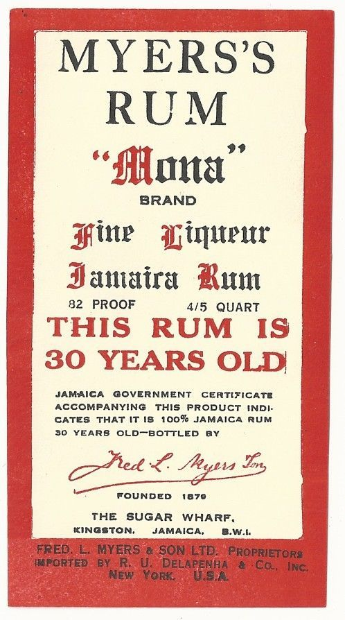 1930's Myer's Rum Mona Brand Rum Label - Kingston, Jamaica