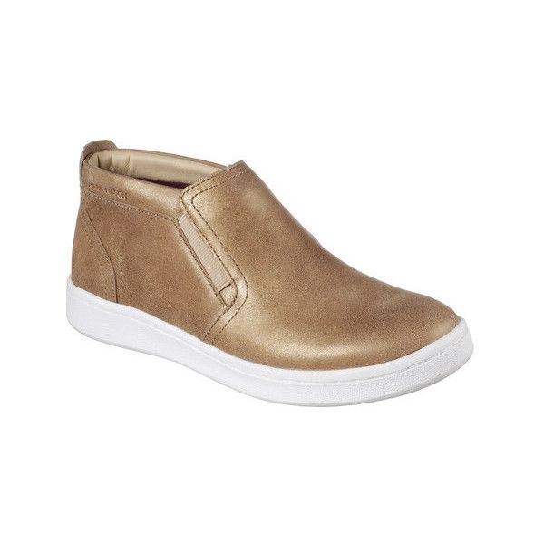 Women's Mark Nason Los Angeles Classic Cup Uptown Mid Top Slip-On... ($90) ❤ liked on Polyvore featuring shoes, sneakers, casual, gold, tennis trainer, leather high top sneakers, leather slip on shoes, leather tennis shoes and hi tops