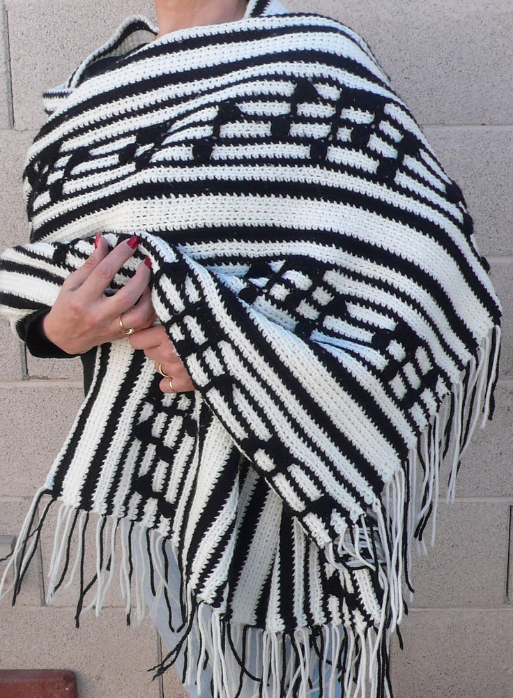 Crochet Pattern For Piano Afghan : Vintage Crocheted black and white music note shawl by ...