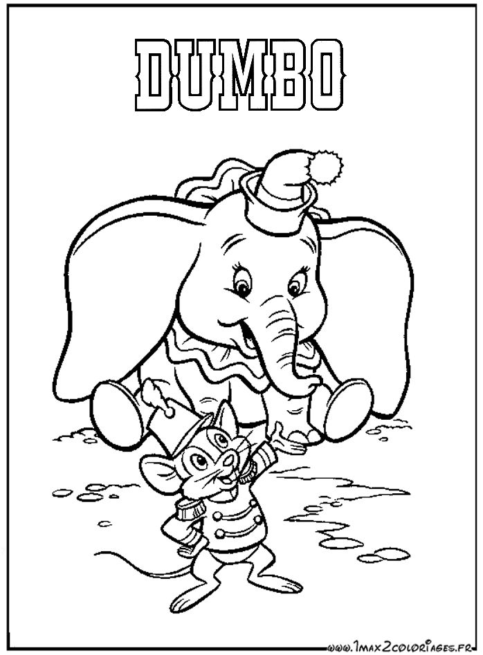 walt disney christmas coloring pages coloriages dumbo de walt disneydumbo et son ami - Dumbo Elephant Coloring Pages