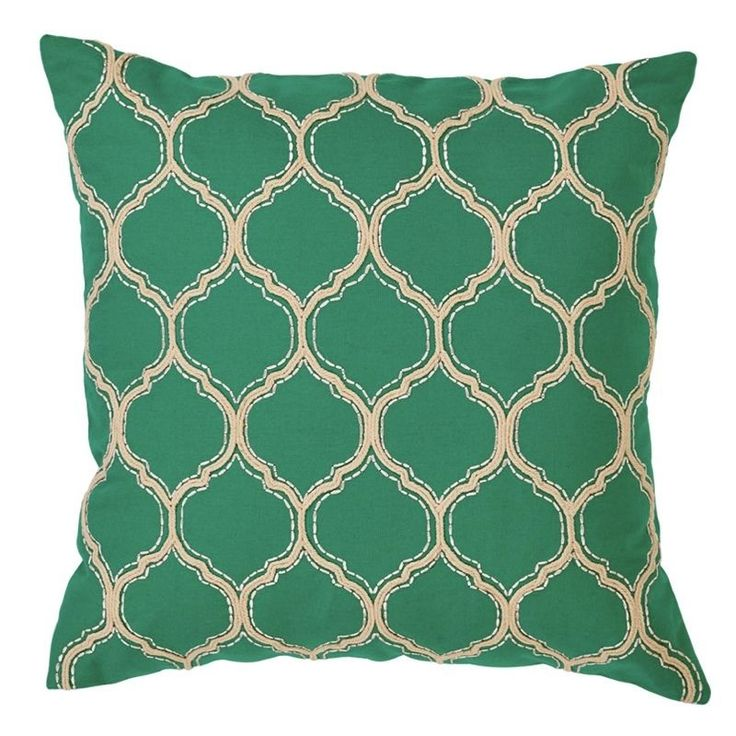NEW! FILLED Decor Cotton Alta Trellis Cushion Pillow Green Aqua Mint $50.50