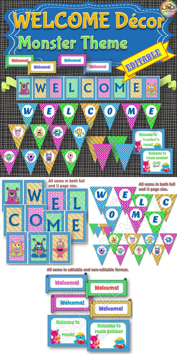 Monster Classroom Decor ~ Monsters themed welcome classroom decor for doors walls