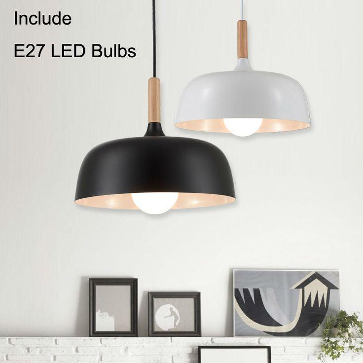 modern led pendant lights Pendant lamp for Restaurant round suspension luminaire Light Fixture with E27 5W LED bulbs Black White #Affiliate