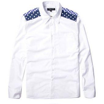 A little touch of dots and checks add so much style! White Junya Watanabe Gingham Polka Dot Button Up Shirt #JunyaWatanabe #longsleeves #buttonupshirt #streetwear #streetfashion #urbanwear