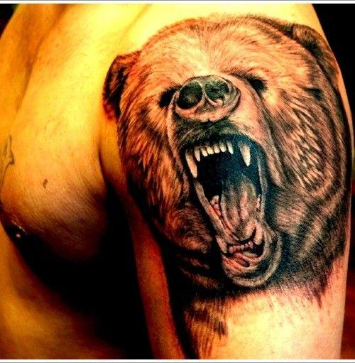 Bear Tattoo Design on shoulder - Copy