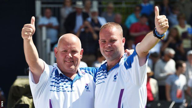 Alex Marshall and Paul Foster won the men's pairs lawn bowls gold medal, taking Scotland's gold tally to 12 for the Games - a new record. The Scots proved too strong for Malaysia, easing to a 20-3 victory in the final.