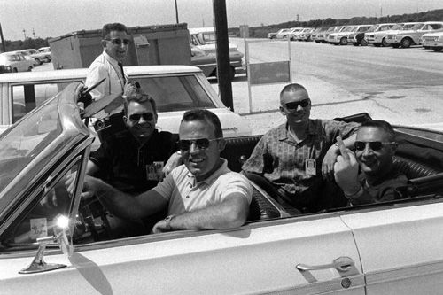 Gus Grissom jokes for the camera of LIFE-photographer Ralph Morse, as fellow-astronauts Gordon Cooper, Elliot See and Neil Armstrong smile. ...
