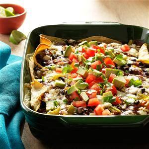 """Enchilada """"lasagna""""- i would add veggies like sweet potatoes, zuchinni, broccoli or cauliflower and resice the amount of cheese in the recioe to make this dish more healthful. Serve with a side salad and fruit for dessert and bam, there's a healthy meal."""