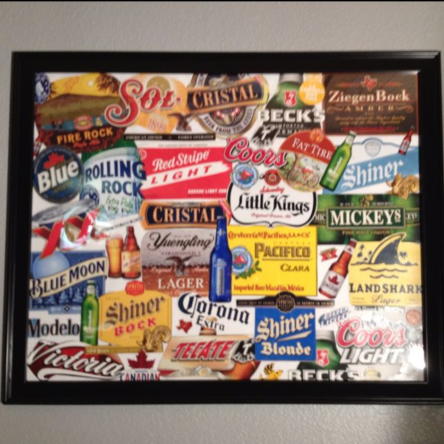 Collection of beer boxes and labels to make a gameroom/home bar collage :)
