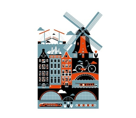 Amsterdam by Xenia BystrovaPosters Series, Cities Posters, Holland, Amsterdam Art, Art Prints, Graphics Design, Products Available, Koivo, Art Illustration