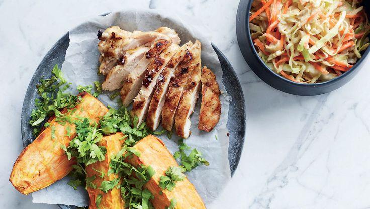 Grillet kylling med hummusslaw